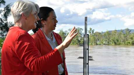 Margaret Strelow overlooked the Fitzroy River with Queensland Premier Annastacia Palaszczuk as the state's leader arrived in Rockhampton to hear first hand the emergency plan for a major flood earlier this year.