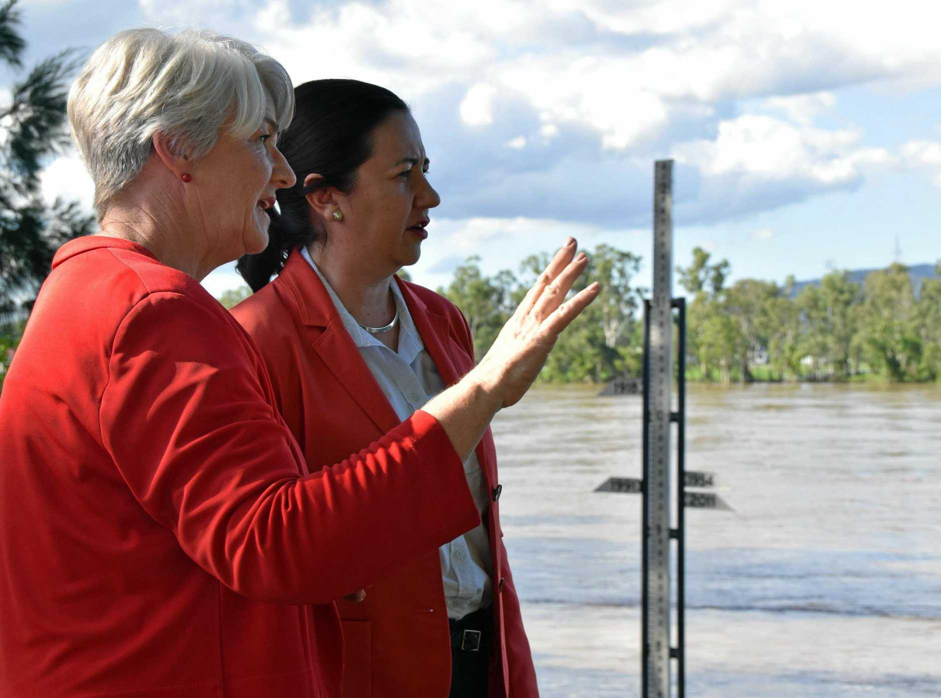 Rockhampton mayor Margaret Strelow overlooks the Fitzroy River with Queensland Premier Annastacia Palaszczuk as the state's leader arrived in Rockhampton to hear first hand the emergency plan for a major flood this week.
