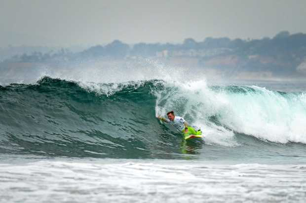 Byron Bay surfer Mark Mono Stewart finished third in his division at the 2017 Stance ISA World Adaptive Surfing Championship