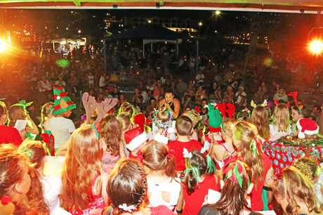 The Cannonvale State School singing at Carols by the Beach on Sunday evening.