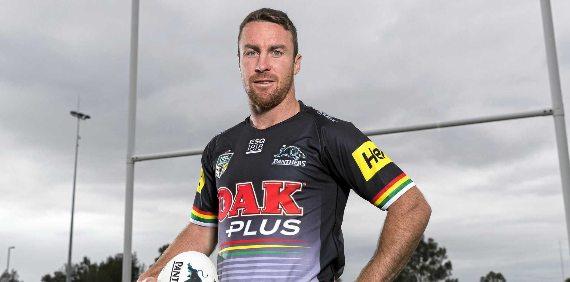 James Maloney tests out his new Penrith Panthers kit.
