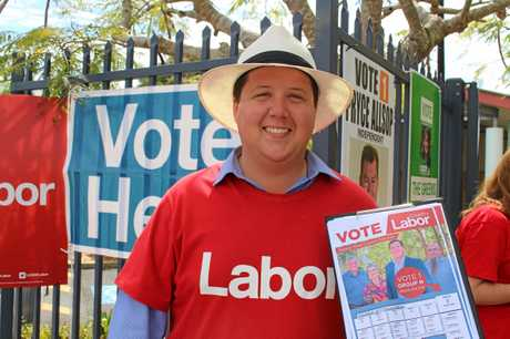 Labour candidate for the Tweed Shire Council Reece Byrne at Centaur Primary School on election day.