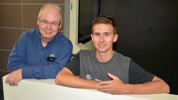RACING ON: Warwick Credit Union CEO Lewis von Steiglitz with driver Matt Campbell.