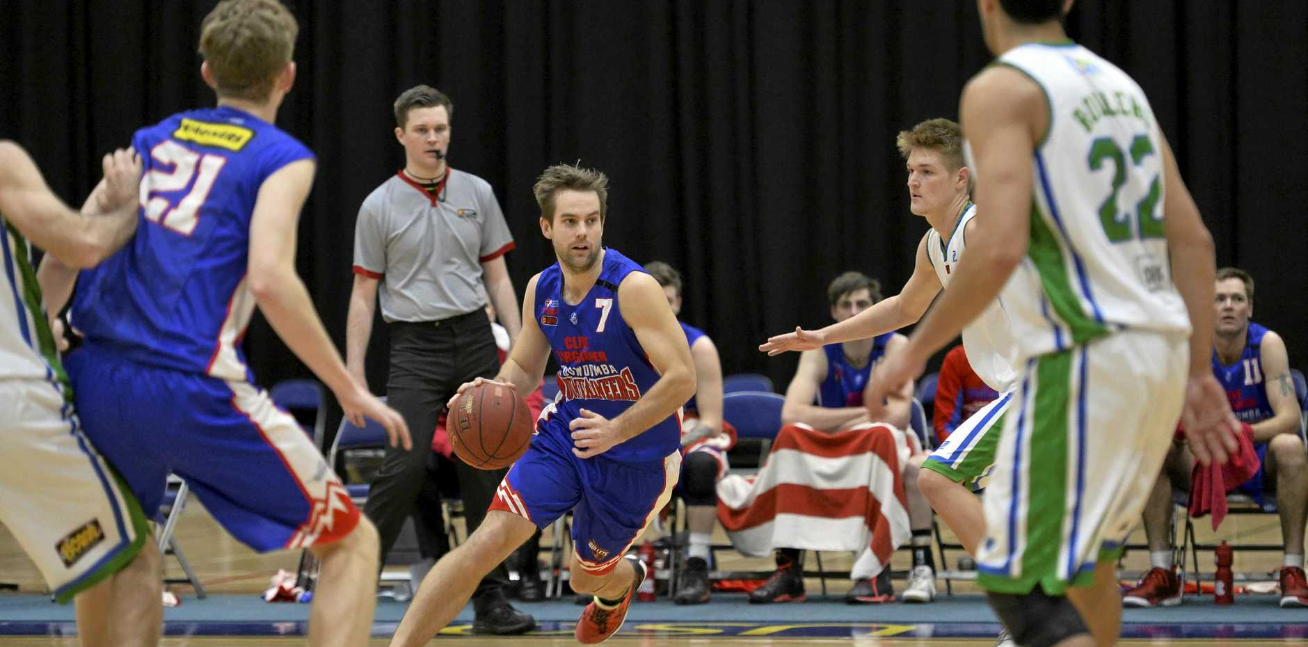 ON COURT: Cameron Weber in action for the Toowoomba Mountaineers. The Mountaineers are currently in negotiations with two coaches for the upcoming QBL season.