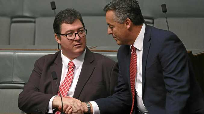 National MPs George Christensen (left) and Darren Chester in parliament on Monday, December 4, 2017.