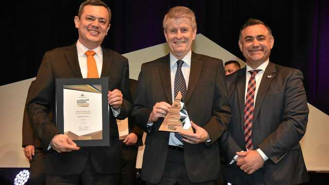 WINNERS: (From left) Darwalla human resources and quality manager Juan Corredor, Chief Executive Officer David Greaves and Deputy Premier  John Barilaro presented with the Medium Employer of the Year Award.