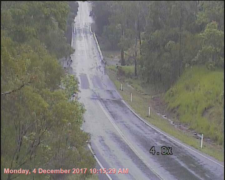 WATER ON THE ROAD: Essendean Bridge at Baffle Creek at 10.15am, December 4 2017.