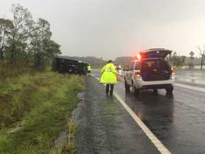 One hospitalised after delivery van rolls on wet CQ road