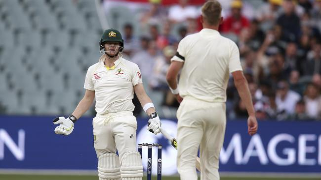 Australia's Steve Smith, left, and England's Stuart Broad have words mid-wicket during their Ashes test match in Adelaide.