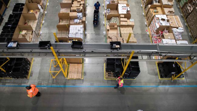 Inside Amazon's fulfilment centre in Peterborough, UK. Picture: AFP