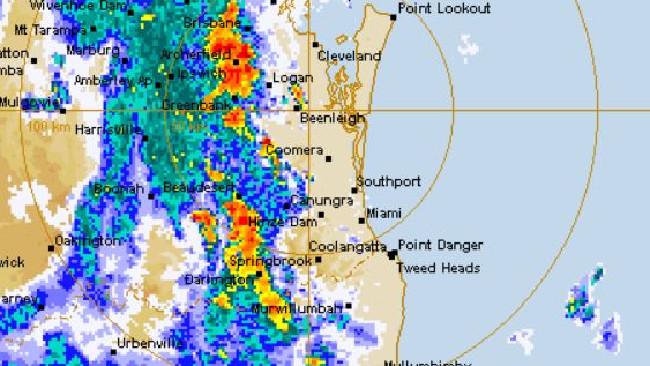 Heavy rain tracks toward the Gold Coast. Photo: BOM