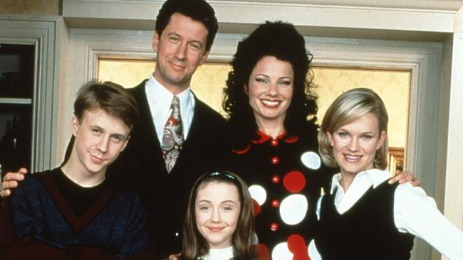 Benjamin Salisbury, Charles Shaughnessy, Fran Drescher, Nicholle Tom and Madeline Zima in The Nanny. Photo: Ten.