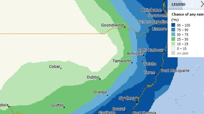 The weather radar shows heavy rainfall across the east coast. Picture: BOM.