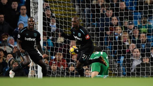 Angelo Ogbonna of West Ham United celebrates scoring.