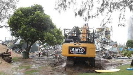 The old Kurrawa Surf Club was knocked down into rubble. Photo by Richard Gosling