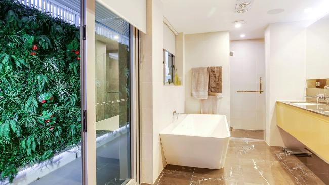 One of the bathrooms at 9/170 Bowen Tce, New Farm. Picture: realestate.com.au.