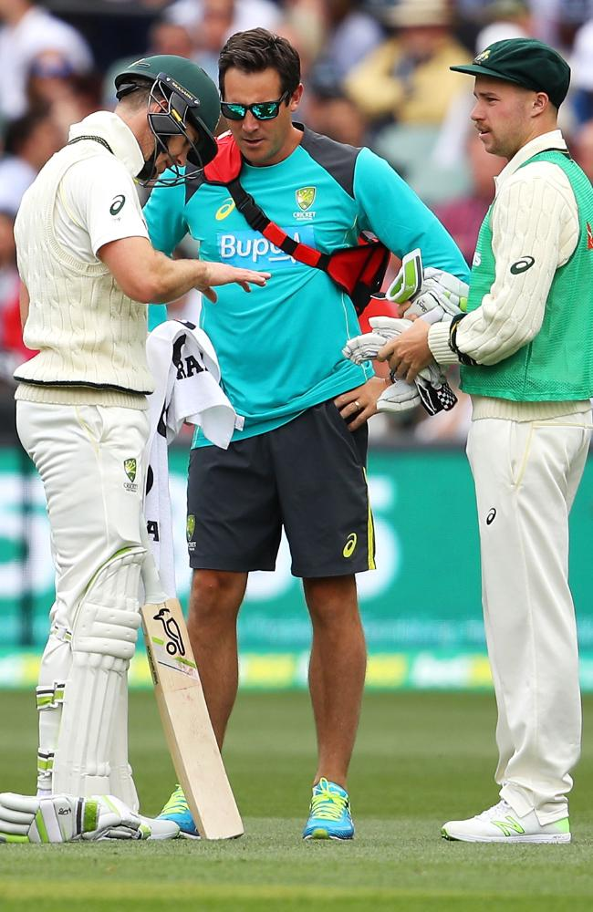 Paine was in plenty of discomfort after copping a knock while batting in Adelaide