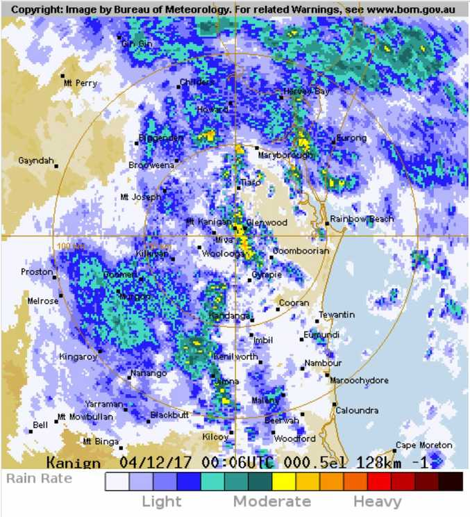 The rain radar shows heavy showers about to hit the region, as of 10am.