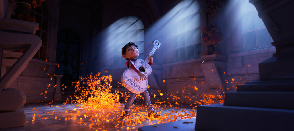 The character Miguel in a scene from the movie Coco.