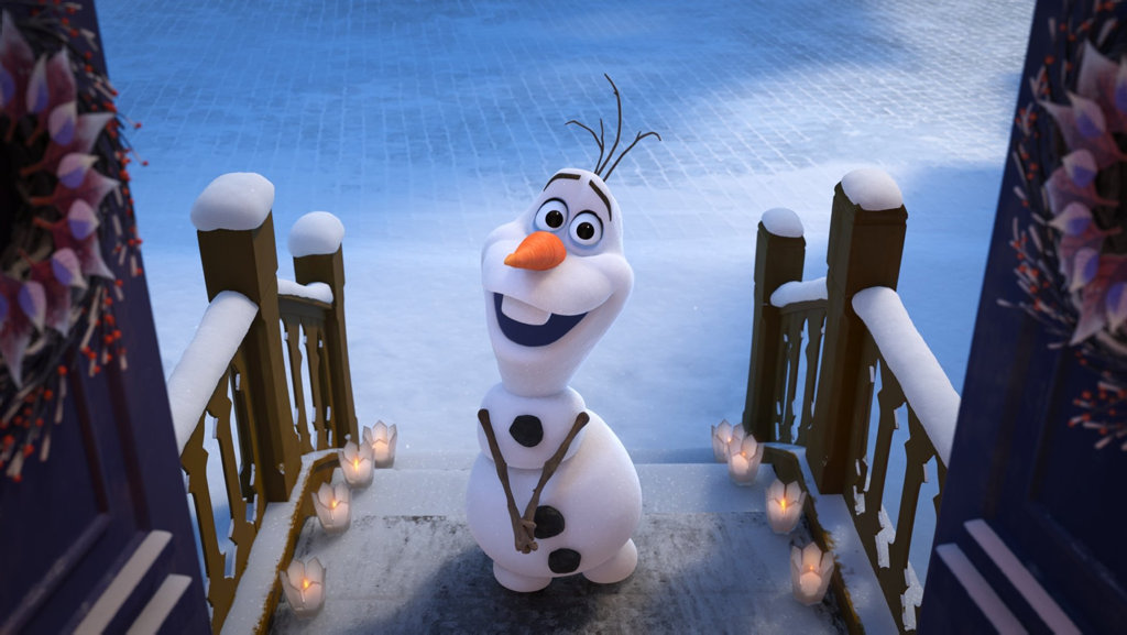 Olaf in a scene from the movie Olaf's Frozen Adventure.