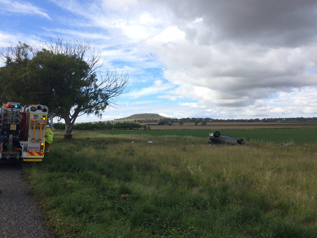 The scene of the crash on the New England Highway at Spring Creek, south of Toowoomba.