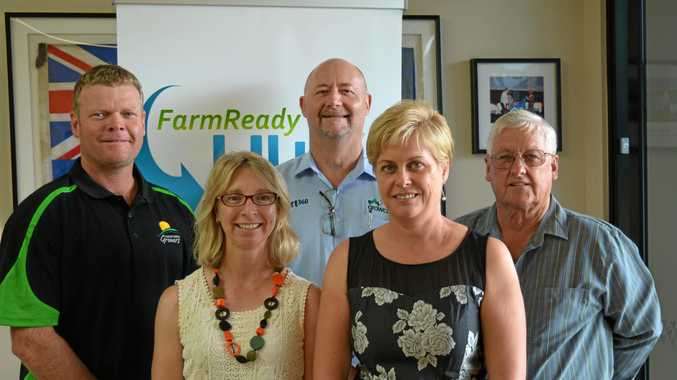 READY TO GO: Lockyer Valley Growers president Michael Sippel, QAWN project manager and agriculture workforce officer for Southern Queensland Karen George, Growcom CEO Pat Hannan, FarmReady  founder and director Janne Dipple and Lockyer Valley Alliance founding chair Keith Jackwitz at the launch of the FarmReady HUB.