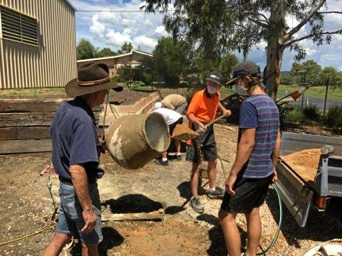 HARD YAKKA:  Laidley students got their hands dirty through their practical studies installing a community garden at the Laidley Pioneer Village Museum.