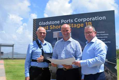 Gladstone Ports Corporation chairman Leo Zussino, Member for Gladstone Glenn Butcher and GPC chief executive officer Peter O'Sullivan with plans for East Shores Stage 1B.