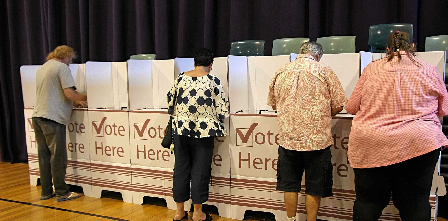Voters in the electorate of Lockyer cast their votes for the 2017 Queensland election, November 25 2017. Generic stock-type photo.