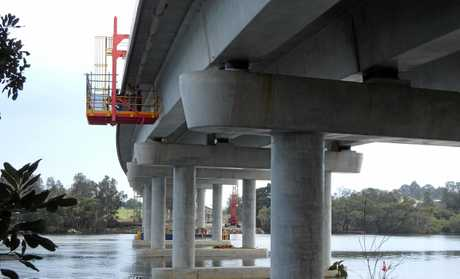 Crews installing under deck drainage on the Nambucca River bridge.