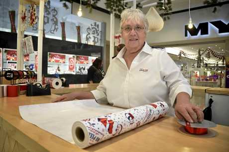 Salvation Army gift wrapping volunteer Pam Bruggemann.