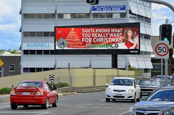 Gun World advertisement on the new digital billboard on East Street, Ipswich.