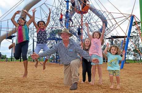 Jazi Minda, Lili Minda, Division 8 Councillor Denis Chapman, Jazmine Carroll, Lily Carroll and Toby Carroll are loving the new Pialba Adventure Playground.
