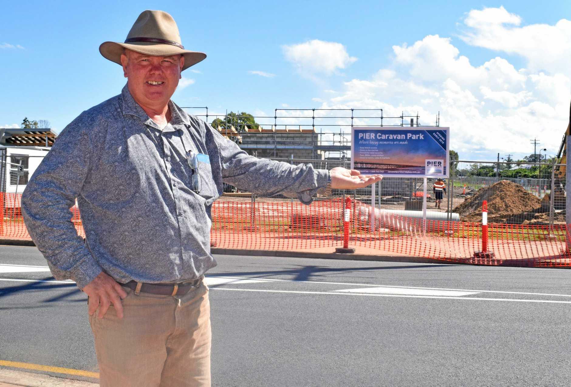 UNDERWAY: Division 8 Councillor Denis Chapman at the construction site of Pier Caravan Park in Urangan.