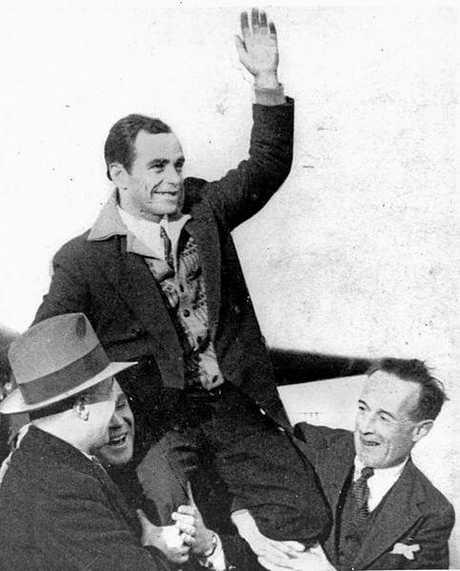 Bert Hinkler, Queensland aviator, receiving a grand welcome after his Transatlantic flight, England, 1932.