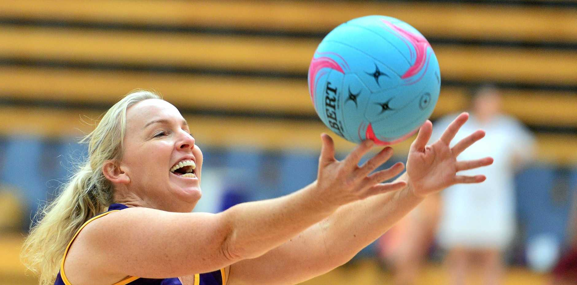 Caloundra hosted the Red Bull Switch Up netball tournament. Wasabi v Misfits (purple). Karen Campbell.