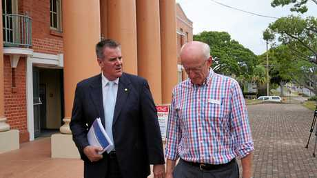 Minister for local government Mark Furner and Fraser Coast mayor Chris Loft discuss initiatives on moving forward with the council on Wednesday.