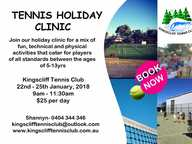 Join our holiday clinic for a mix of  fun, technical and physical activities that cater for players of all standards between the ages of 5-13yrs