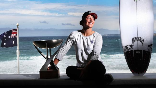 Two-time WSL champion Tyler Wright with her 2017 trophy. Pic: Phil Hillyard