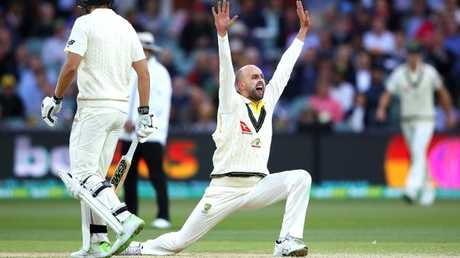 Nathan Lyon made the first breakthrough for Australia.