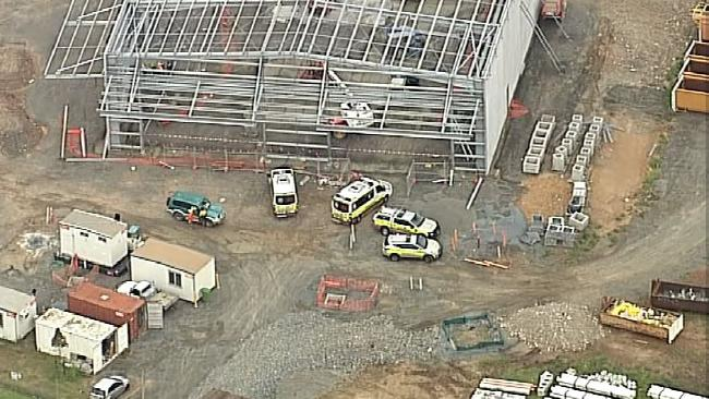 Emergency services at the scene of a workplace accident in Yatala. Picture: 7 News Gold Coast