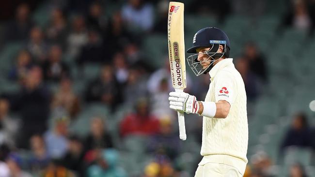 England captain Joe Root celebrates his half century at Adelaide Oval.