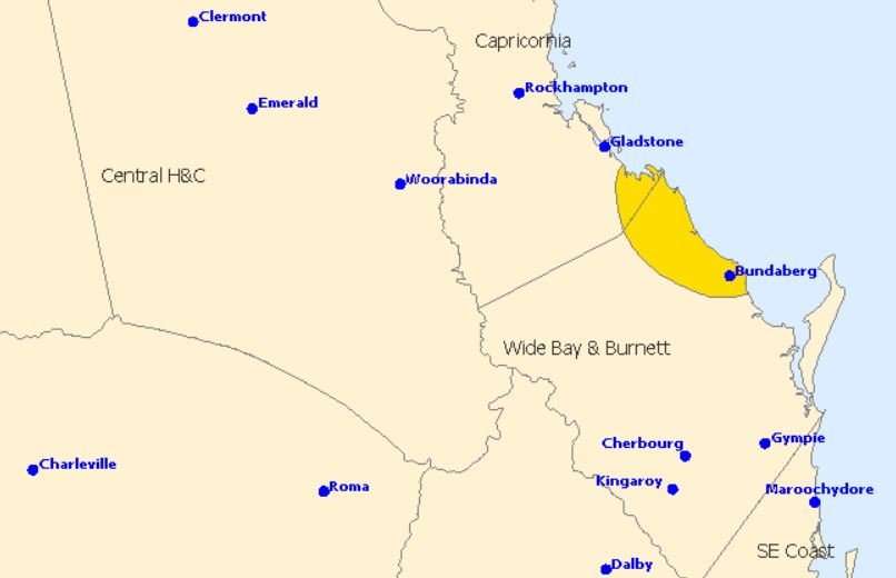The storm is expected to hit Bundaberg.