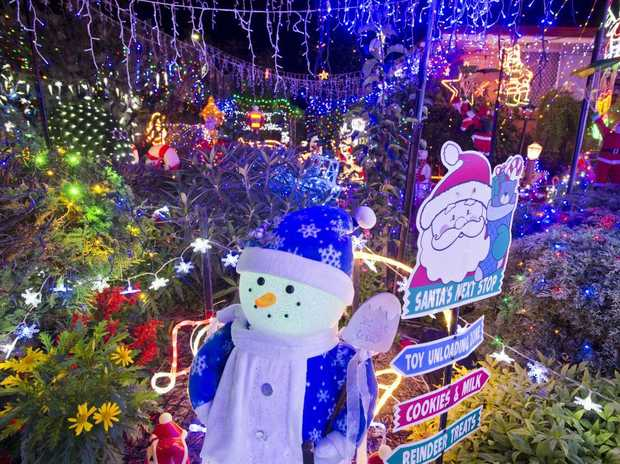 A snowman in the yard of Merv Buckley's Sprott St entry in The Chronicle Christmas Lights Competition, Monday, December 4, 2017.