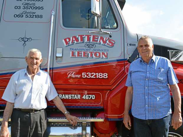 LEETON BOYS: Jack and Stephen Patten with their immaculately restored International at the Riverina Truck Show.
