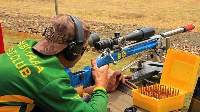 MATCH TIME: Graham Sells shooting at VRA Bendigo Range.