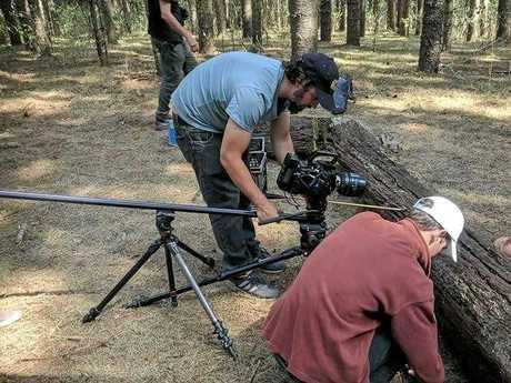 Gladstone filmmaker Clifton Schulke working on The Arrow at Kalpowar State Forest.