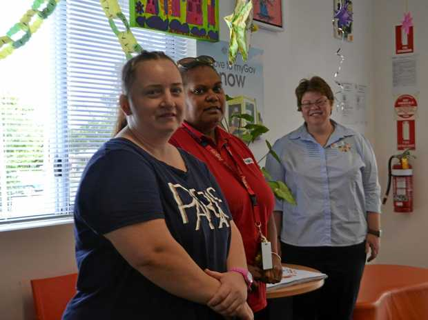 TALENT: Fay Barnes, Melissa Roma and Andrea Wilms at the Chinchilla Family Support Centre and Anglicare exhibition.
