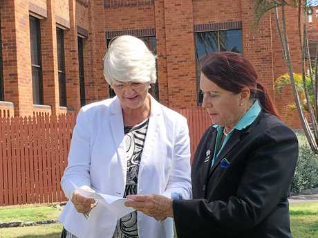 Rockhampton Mayor Margaret Strelow and councillor Ellen Smith whose division covers Gracemere looking at the postcode survey results