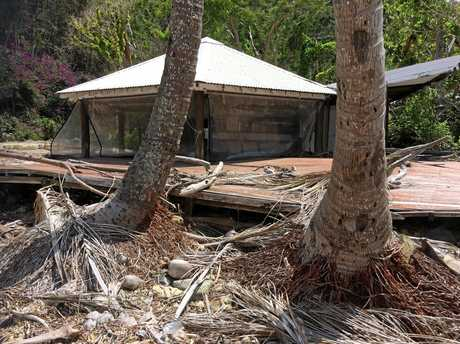The resort at Paradise Bay at the southern end of Long Island in the Whitsundays lies languishing and abandoned in the wake of TC Debbie.